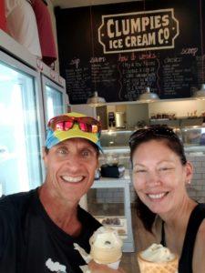 Enjoying ice cream at Clumpies ice cream company.
