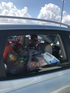 Groceries packed in the car and heading to camp
