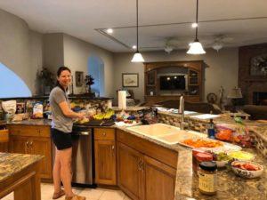 Kathleen preparing dinner