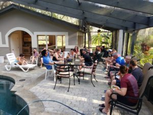 Triathlon camp athletes socializing on the last night of camp