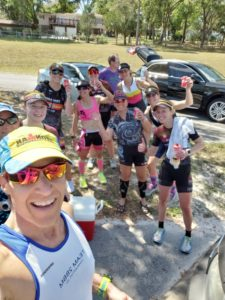 Hot run with triathletes from camp
