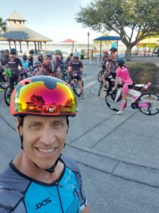 Triathletes gathered for their bike workout