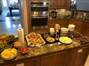 photos of triathlon lunch with smoothies and snacks