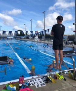 Swim drills at triathlon camp