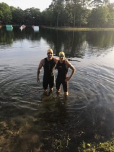 Half Ironman Swim Start in water
